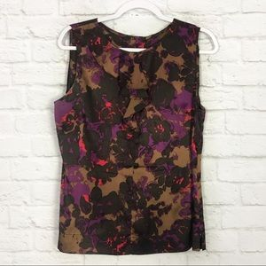 Semantiks LG Silk Floral Sleeveless Ruffle Blouse